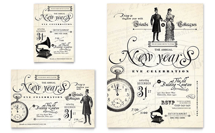 Vintage New Year\u0027s Party Flyer  Ad Template - Word  Publisher