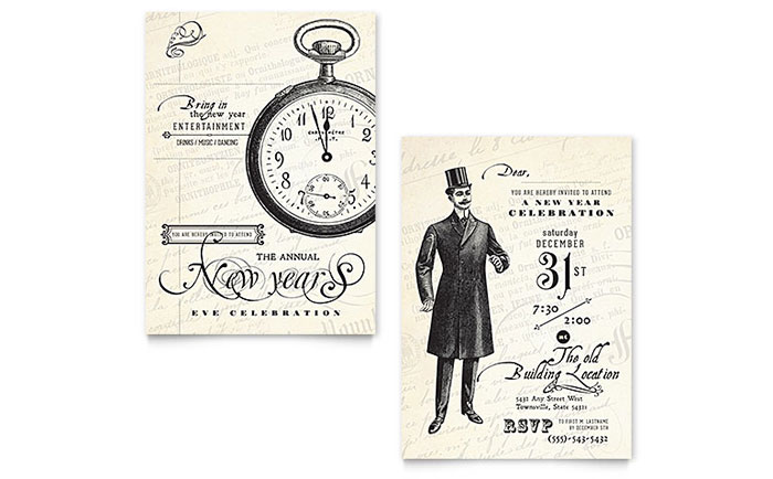 Vintage New Year\u0027s Party Invitation Template - Word  Publisher - vintage invitation template
