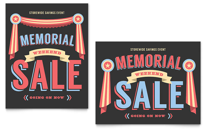 Memorial Day Sale Poster Template - Word  Publisher