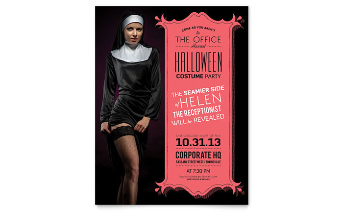 Halloween Costume Party Flyer Template - Word  Publisher