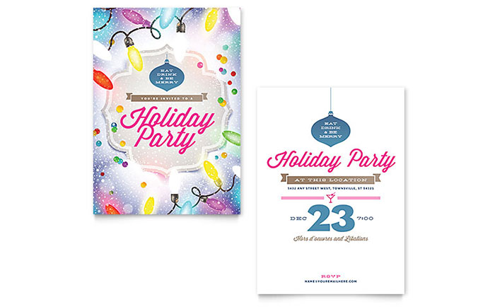 Holiday Party Invitation Template - Word  Publisher