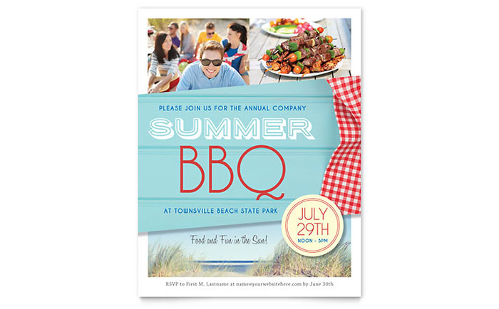 Summer BBQ Flyer Template - Word  Publisher