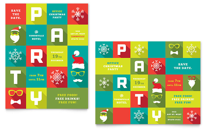 Work Christmas Party Poster Template - Word  Publisher