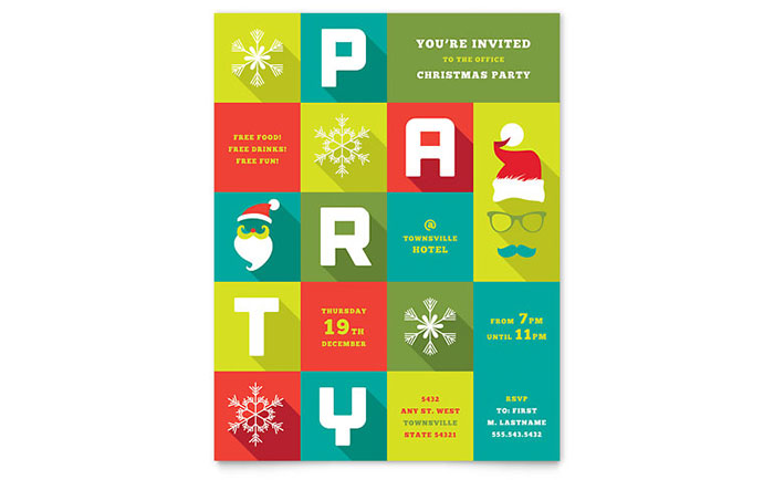 office holiday party poster template word publisher - Adamantium - free holiday flyer templates word