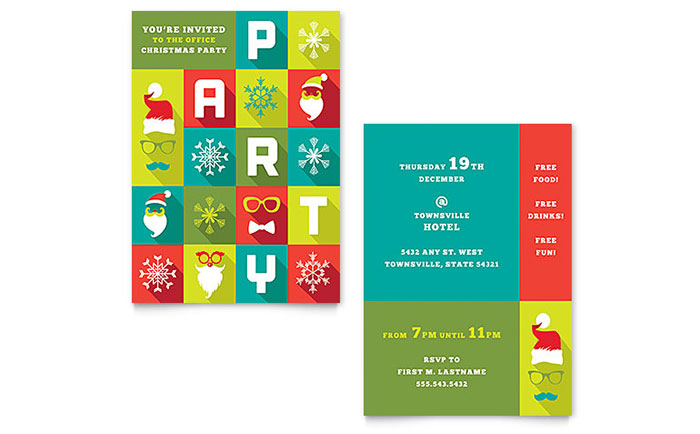 Work Christmas Party Invitation Template - Word  Publisher