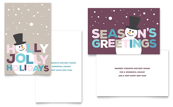 Jolly Holidays Greeting Card Template - Word  Publisher - free greeting card templates for microsoft word