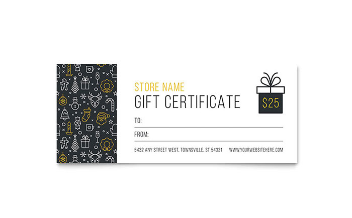 Christmas Wishes Gift Certificate Template - Word  Publisher