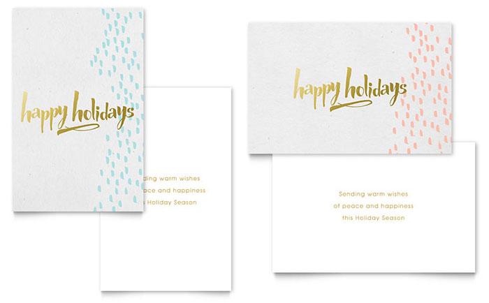 Elegant Gold Foil Greeting Card Template - Word  Publisher