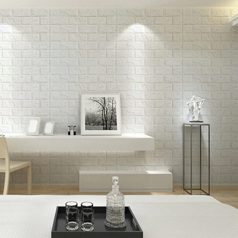 3d Brick Wallpaper White 3d Foam Stone Brick