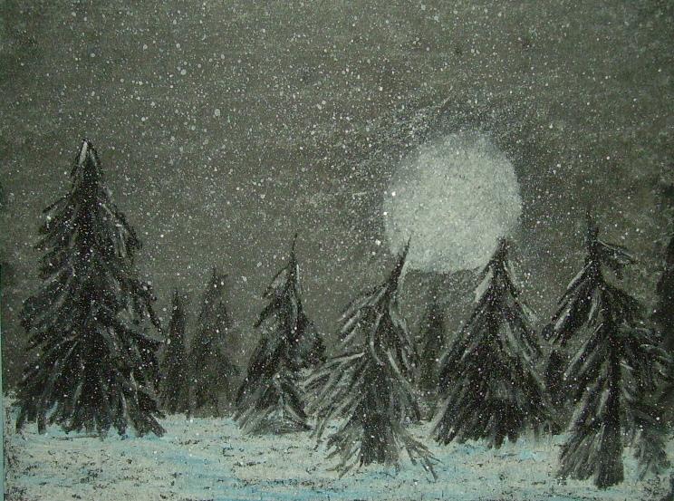 Moonlit Snow Flurries Kids Glitter
