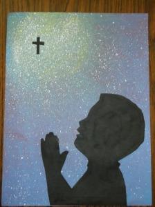 children praying-9-boy-glue on silhouette