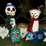 gallery-paper mache clay snowmen, bird and chick