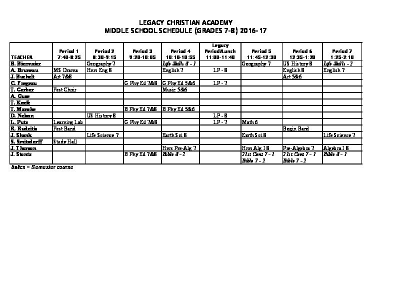 Daily Schedule Legacy Christian Academy - schedule graph