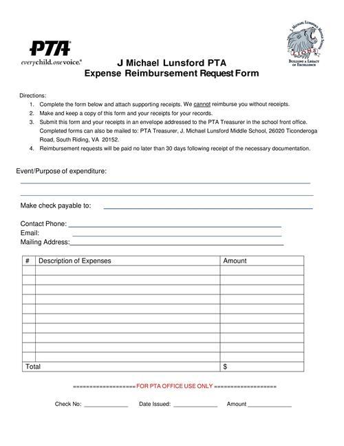 PTA / Teacher Classroom Reimbursement - reimbursement form
