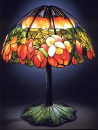 A highly important leaded Glass bronze and mosaic LOTUS ...