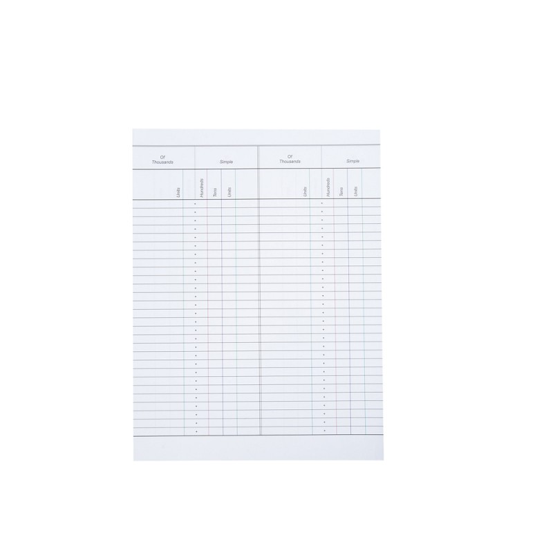 50 sheets of color-coded and lined paper for use with the Small Bead - color lined paper