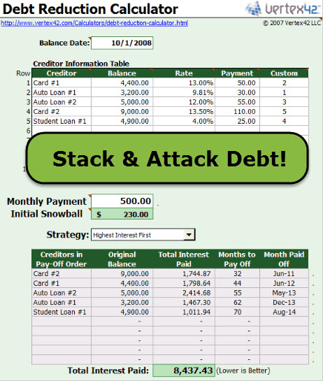 Free Financial Management Tips and Tools - debt reduction calculator