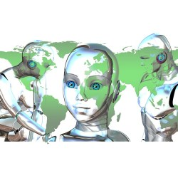 Robo-advisors in front of world map.