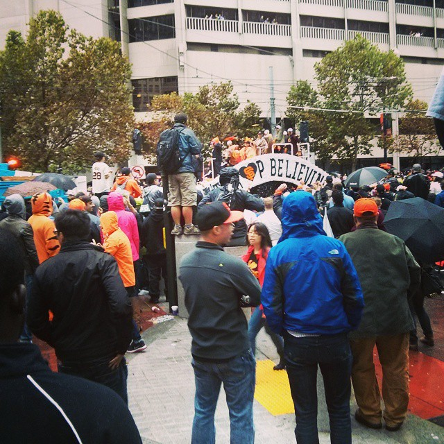 Just your average day in the Bay Area,  went to SF for a work meeting and got caught in a parade. Go Giants! World Series Champs!