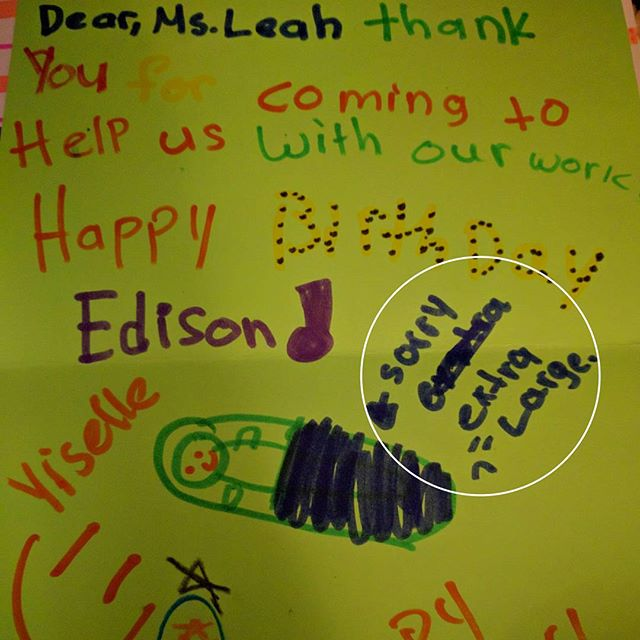 """Loving all the thank you cards I got on my last day volunteering with the Girls Inc. after school program. It's nice to know there is some sympathy out there for when I have my """"extra large baby."""""""