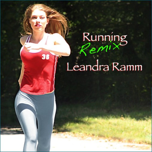 Leandra Ramm picture, wearing red singlet and light grey pants, jogging for Running Remix Album Cover