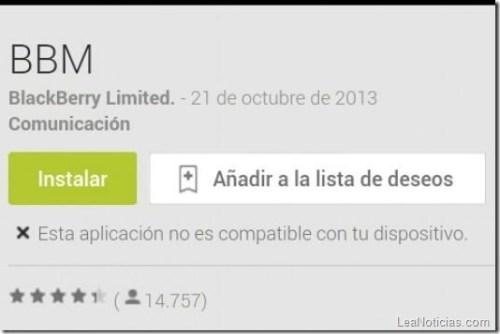 """para instalar el BBM para Android en dispositivos """"No compatibles ..."""