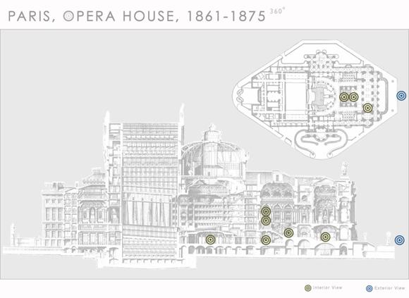 This is a floor plan and section cut of the Paris Opera House - survey form