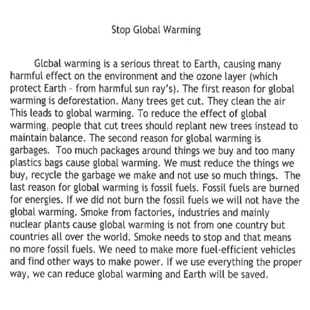 expository essay on global warming