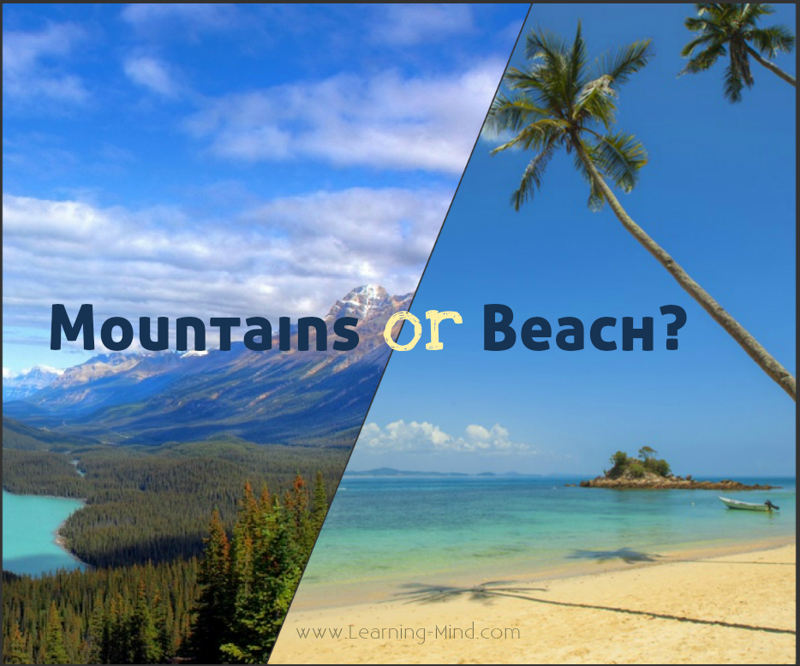 holiday destination personality mountains or beach type
