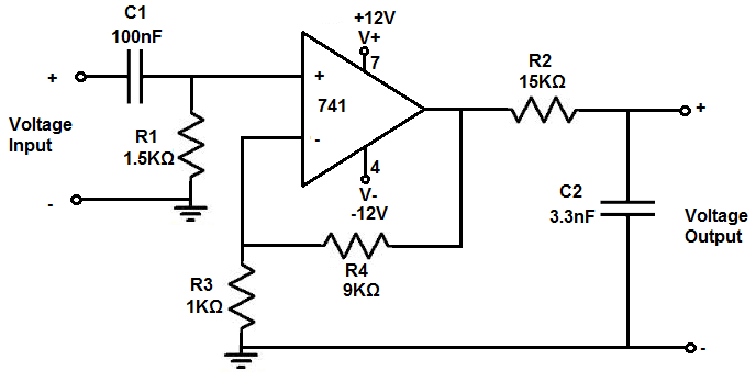 rc bandpass filter circuit diagram
