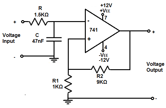 how to build a noninverting op amp circuit