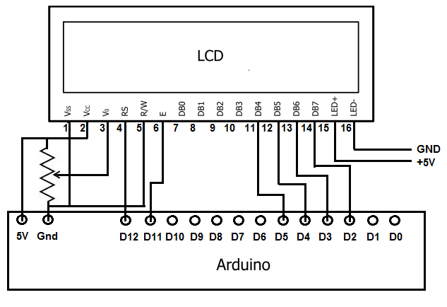 wiring arduino lcd connection