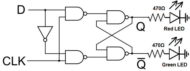 circuit diagram of d flip flop using nand gate