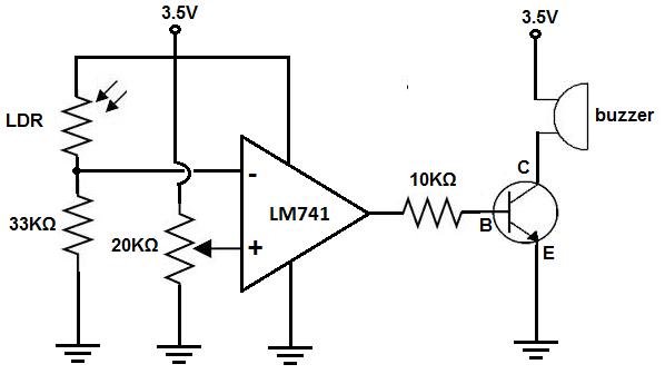 darkactivated buzzer circuit schematic