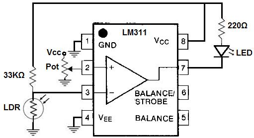 lm311 comparator night light circuit