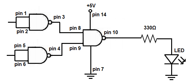 nand circuit built on breadboard
