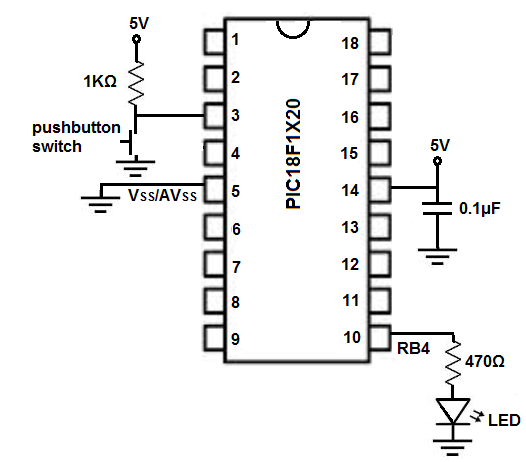 pic18f1220 blinking led circuit schematic