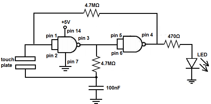 touch switch circuit using 4011