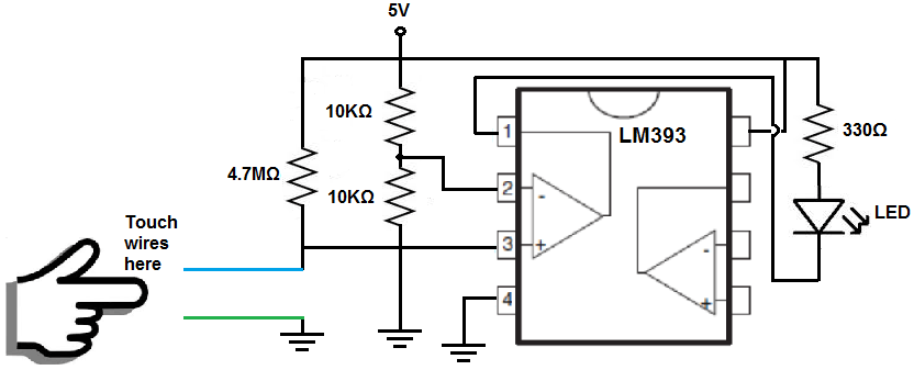 the breadboard schematic of the circuit above is shown below