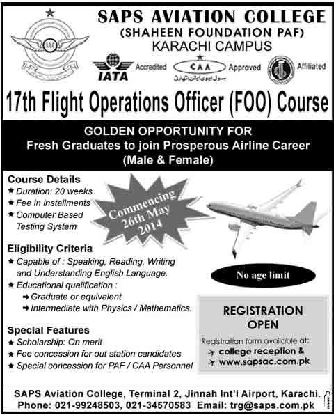 SAPS Aviation College Karachi Admission 2018 Flight Operations