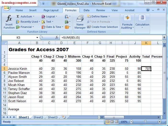 Microsoft Excel Formulas Tab Tutorial- Learn MS Excel 2007 IT