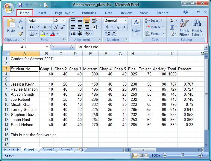 Microsoft Excel 2007 Home Tab - Learn tools to use MS Excel 2007