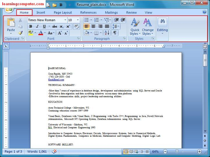 resume using microsoft word 2007