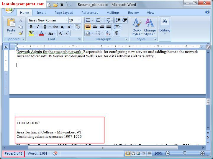 Microsoft Word \u2013 Home Tab \u2013 IT Computer training \u2013 Learningcomputer