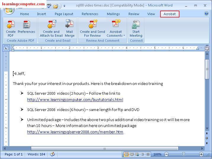 Microsoft WordAcrobat Tab