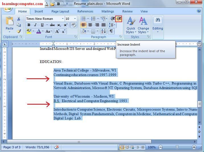 resume layout microsoft word 2007