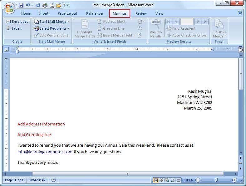 Microsoft WordMailings Tab - ms word for sale
