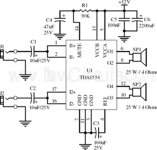 22w stereo amplifier using tda1554 circuit diagram