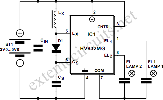 el lamp driver using hv832mg circuit diagram