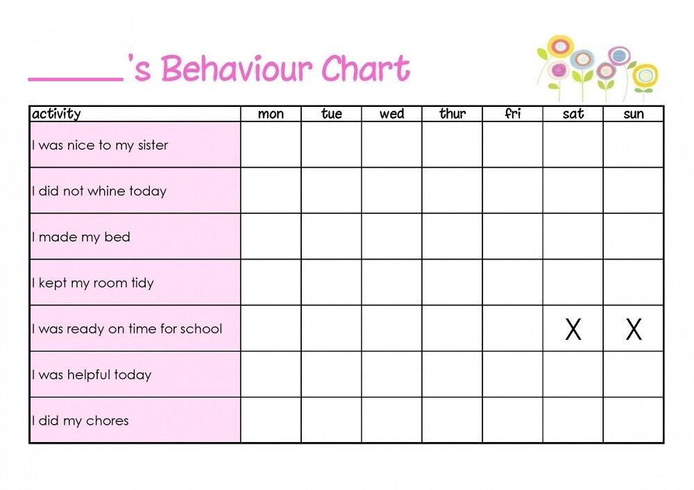 blank behavior chart - real-fitness - printable behavior chart